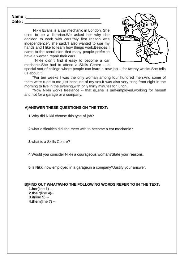 1412885193 test on jobs reading comprehension passages advanced level pdf worksheet fabulous picture