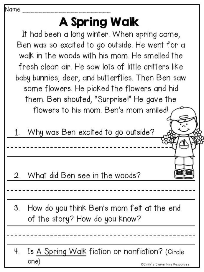 1st grade reading comprehension worksheet template library free printable first