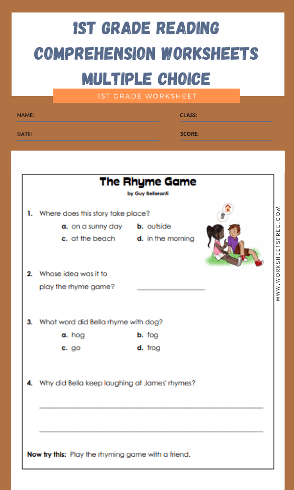 1st grade reading comprehensionsheets multiple choice for august free amazing