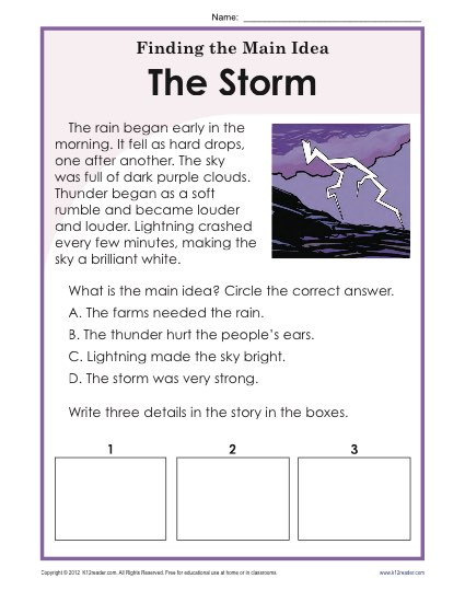 1st or 2nd grade main idea worksheet about storms and supporting details exercises idea1 picture