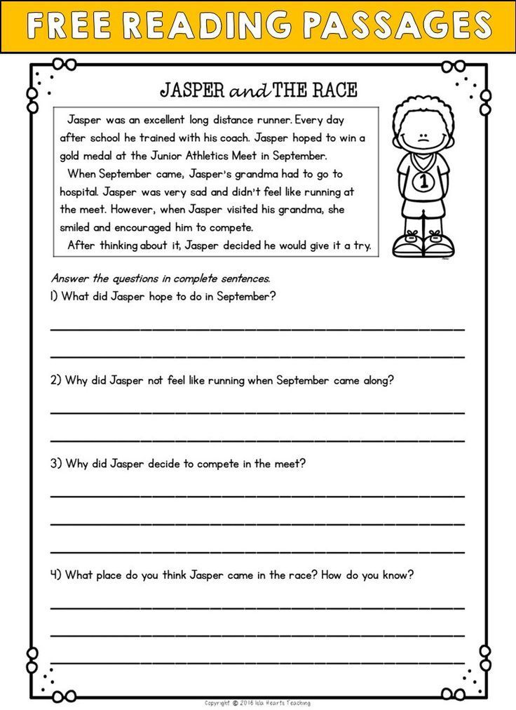 2nd grade reading comprehension activities second passages and questions free sample worksheets