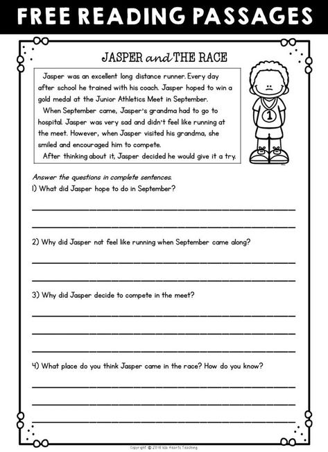 2nd grade readingnsion activities second passages and questions free sample
