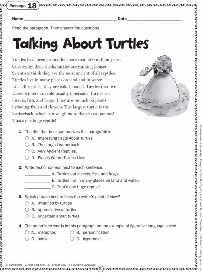 4th grade reading worksheets pdf free download for 1st
