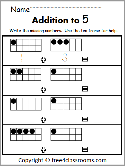 Addition to ten frames freesheets for kindergarten up free4classroomssheet staggering image ideas