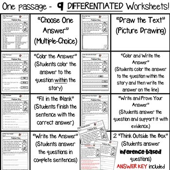 Amazing 1st grade reading comprehension worksheets multiple choice original first