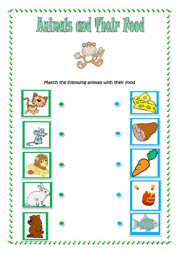 Animalsd their food 5707 1 for kindergarten worksheets picture inspirations food english esl distance learning