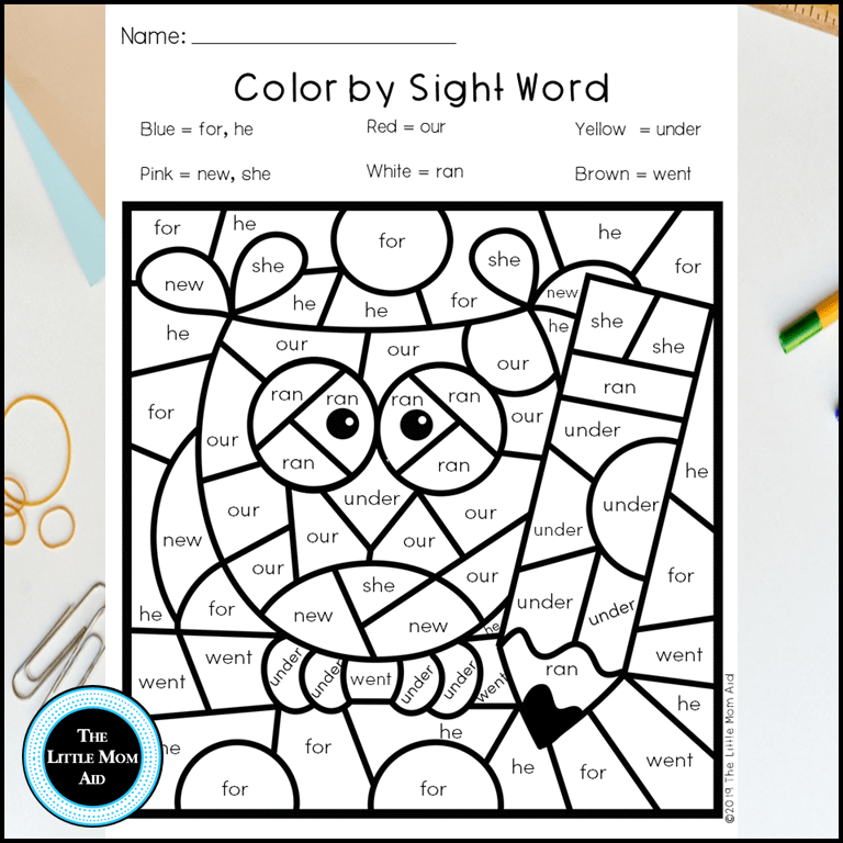 Back to school color by sight word primer kindergarten printables the little mom
