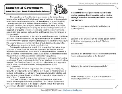 Branches of government 4th grade reading comprehension worksheet worksheets pdf for 1st social studies