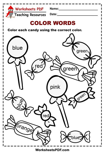 Candy color words activity word activities coloringts for kindergarten preschool pdf awesome image ideas free