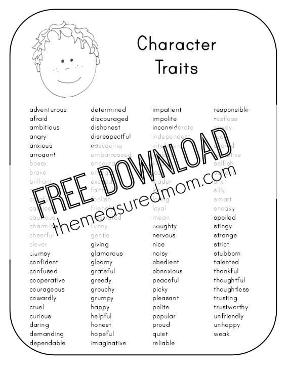 Character analysis sample astonishing trait passages ford grade worksheet the measured mom