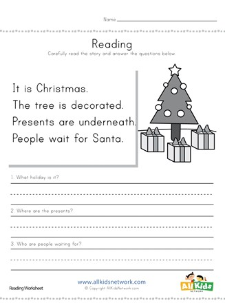 Christmas reading comprehensionheet all kids network outstandingheets image inspirations