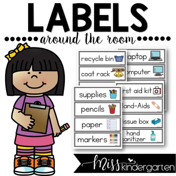 Classroom labels with pictures by miss kindergarten love tpt labeling original excelent picture
