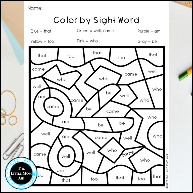 Color by sight word kindergarten back to school primer printables the little mom