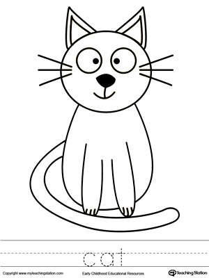 Color the cat and trace name coloring page kindergarten drawing printable worksheets myteachingstation com for kids phenomenal picture