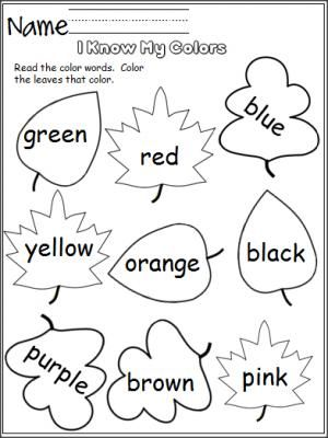 Color worksheets for preschool and kindergarten i know my colors leaves made by teachers fall
