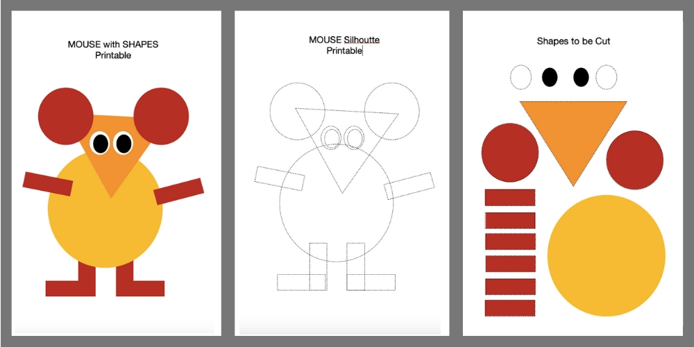 Cut and paste shapes diy mouse as told by mom worksheets for kindergarten image