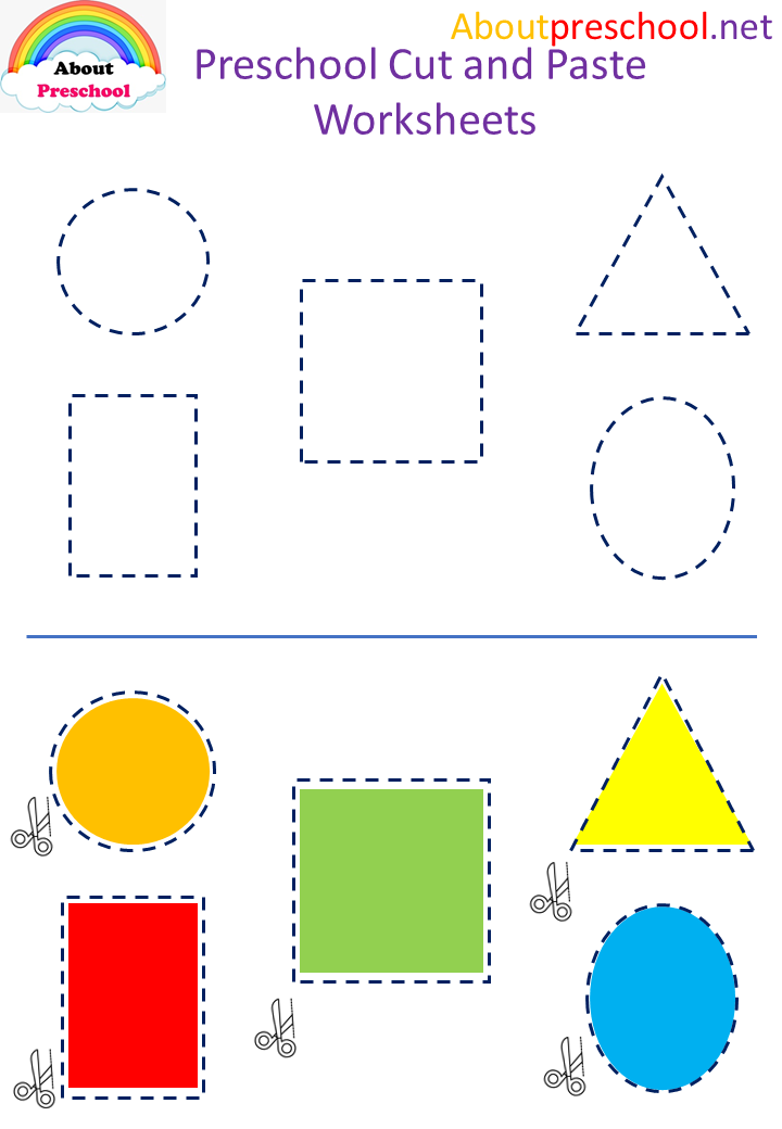 Cut and paste shapes worksheets for kindergartenool image ideas about