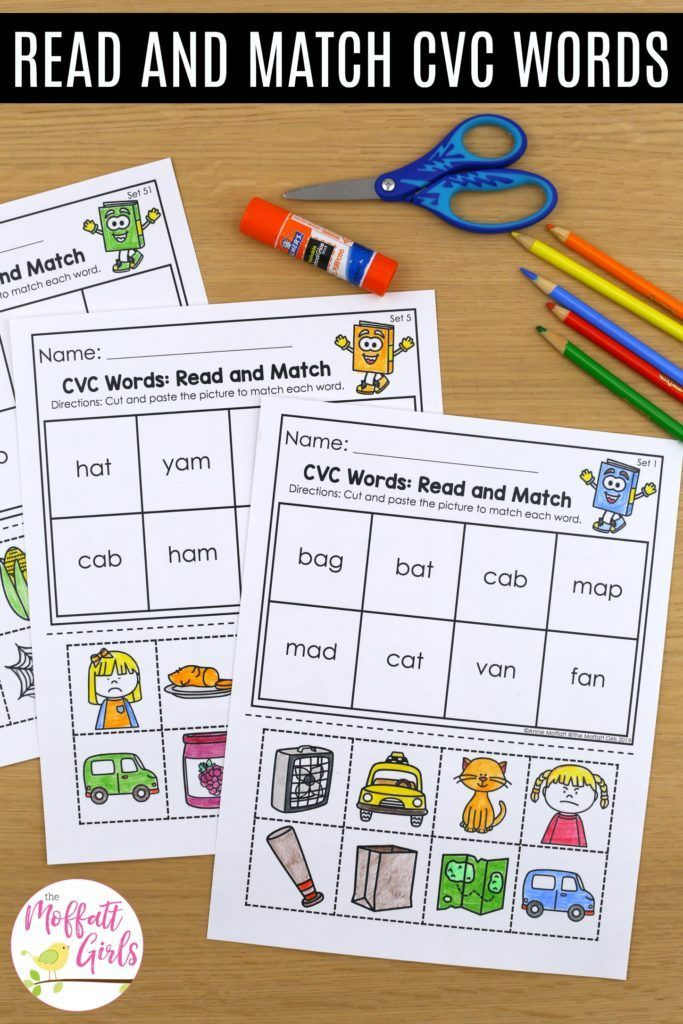 Cv words with pictures for kindergarten cvc read and match works short vowel consonant this fun activity