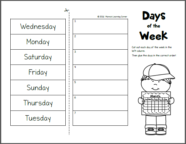 Day days of the week worksheet for kindergarten worksheets mamas learning
