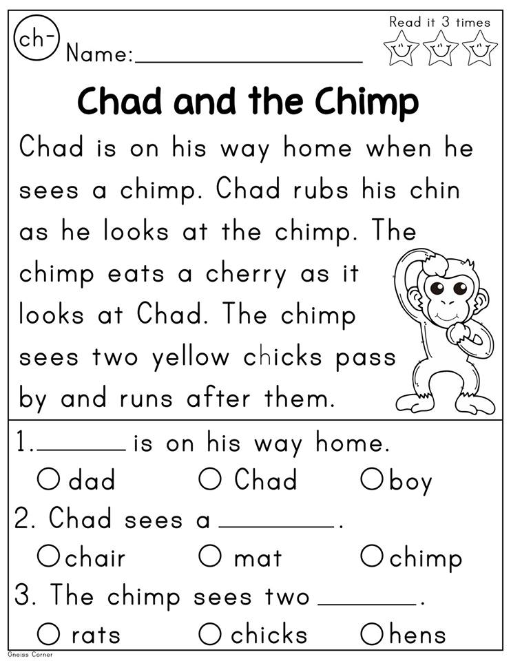 Digraph ch readingion passage madebyteachers digraphs fluency passages activities decodable with