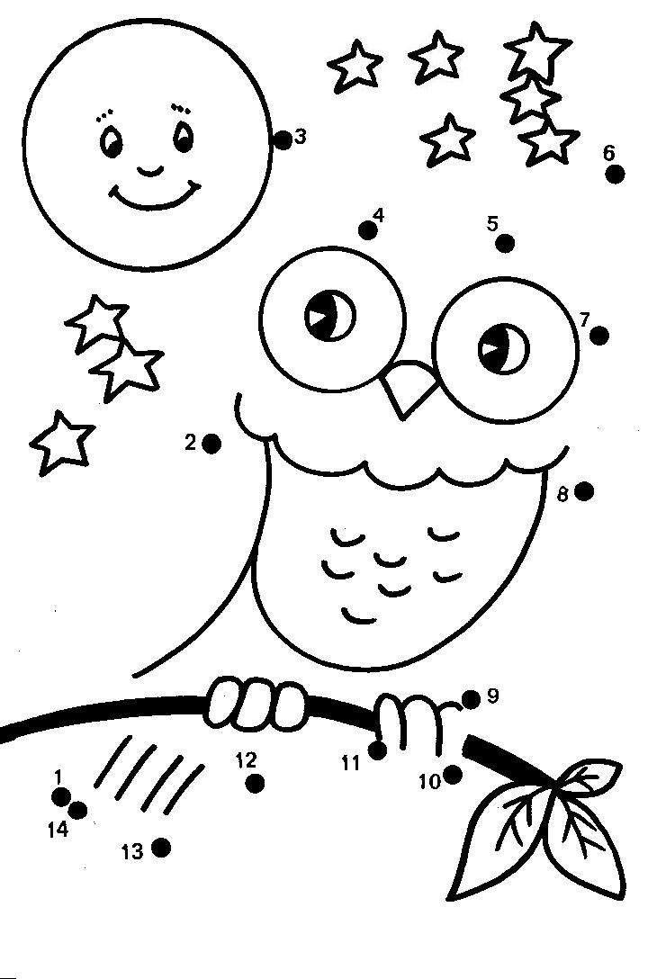 Dots pictures for kindergarten splendi cartoon owl dot to coloring pages colors