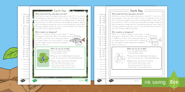 Earth day reading comprehension math worksheets activities for kids high school adults