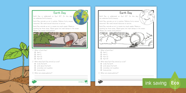 Earth day reading comprehension worksheets pdf 4th grade free download