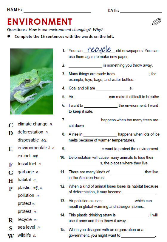 Environment reading comprehension worksheets all things topics capture