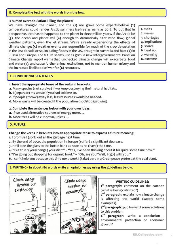 Environment reading comprehension worksheets our test english esl for distance learning and physical classrooms