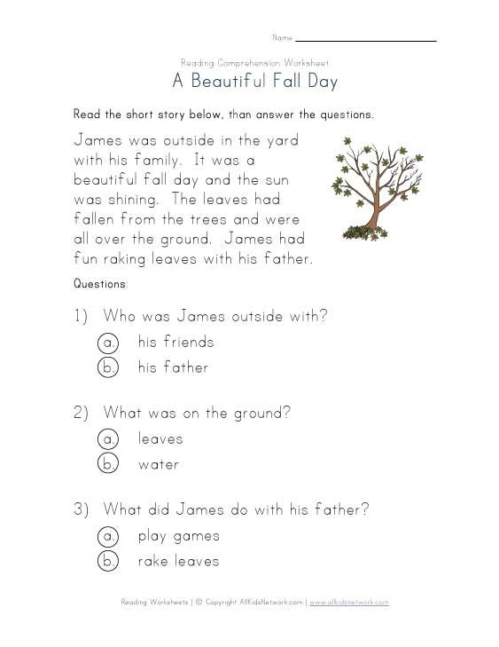 Fall reading comprehension worksheets day fall reading comprehension worksheet 3