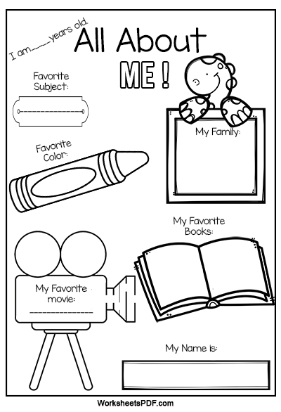 First dayf school all about me staggering kindergarten worksheets story kids