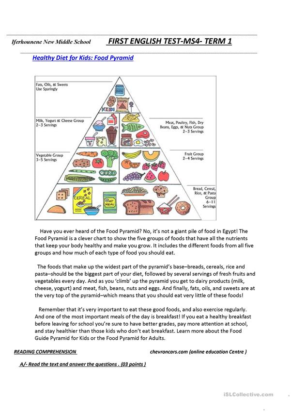 Food pyramid reading comprehension exercises tests 2198 1 fabulous worksheet picture ideas english esl worksheets for distance learning and