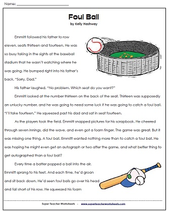 Foul ball reading 3rd grade comprehension worksheets awesome free printable for third
