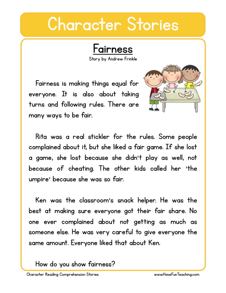 Free character education reading comprehension fairnessries and questions printable with short