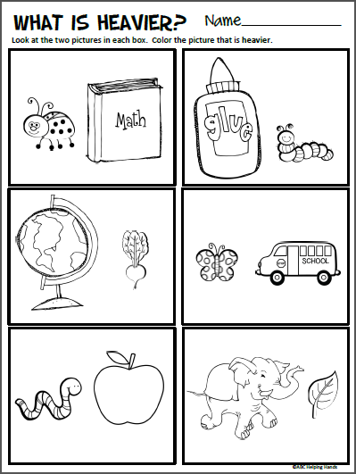 Free compare sizes worksheet for kindergarten math made by teachers worksheets