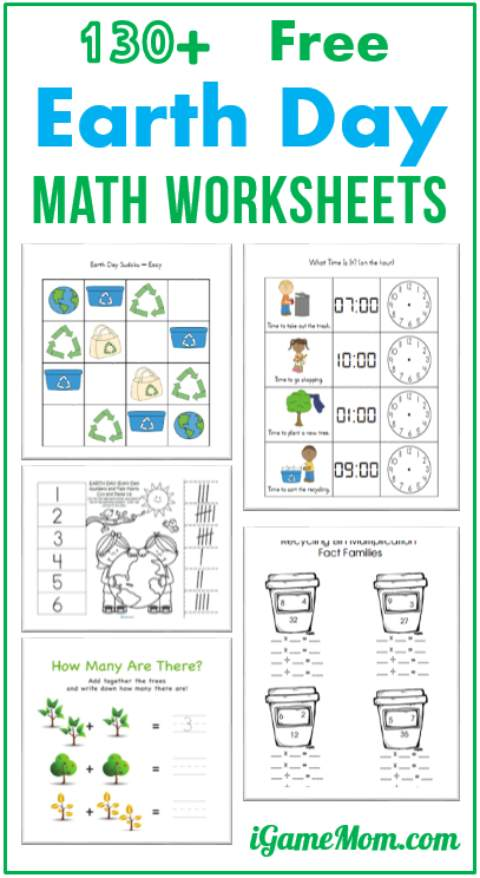Free earth day math printable worksheets forids planetindergarten pdf first grade