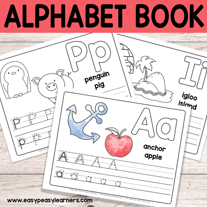 Free printable alphabet book worksheets for pre k and easy peasy learners printables