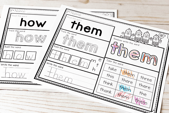 Free printable first grade reading worksheets sight words word 1st