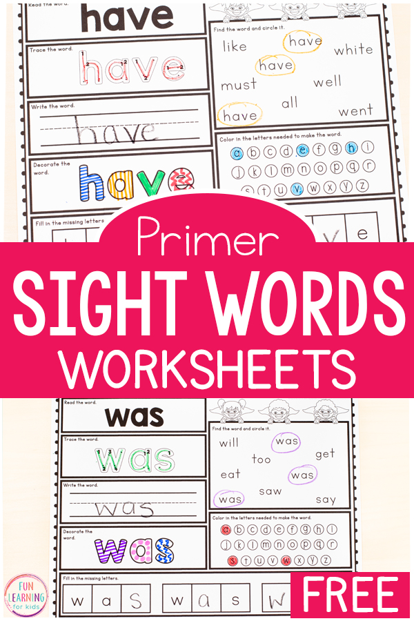 Free printable kindergarten sight word worksheets words and for image