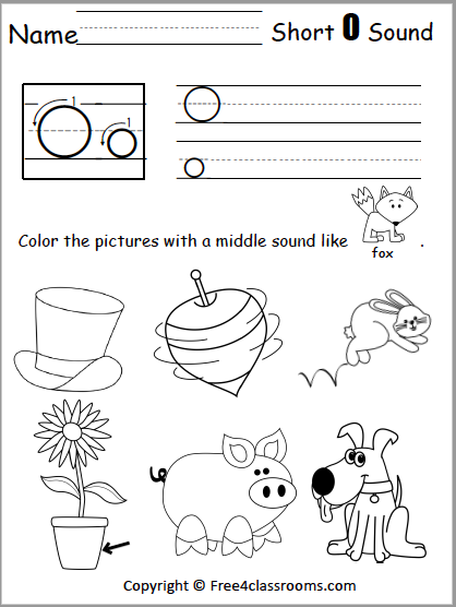 Free short o middle sound worksheet free4classrooms amazing for