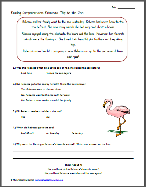 Free spanish reading comprehension worksheets staggering picture inspirations rebeccasrip