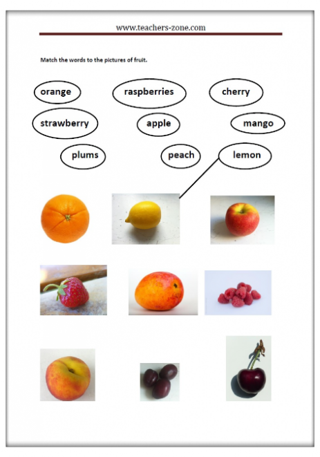 Fruits worksheet for kindergarten amazing match the names to pictures of fruit photo free worksheets teachers