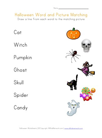 Halloween word matching printable all kids network words thumbnail preview 327x440 free worksheets for