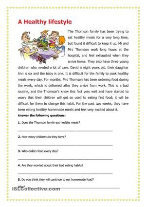 Healthy lifestyle reading comprehension worksheets fabulous esl pdf picture