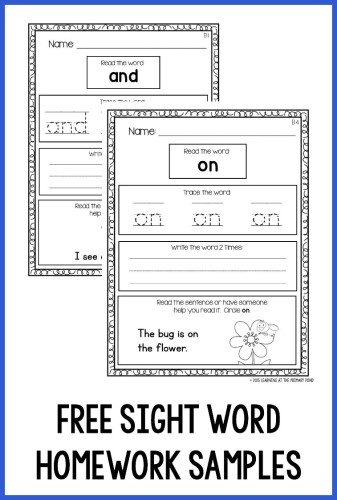 Incredible homework for kindergarten students image ideas free sight word samples 337x500 assigning that works all kids