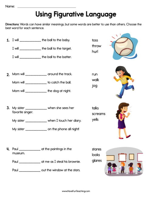 Incredible second grade reading worksheets picture ideas using figurative language worksheet 500x647 have fun