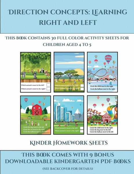 Kinder activity sheets homework direction concepts left and right this book contains von james manning englisches buch bucher 57622785z