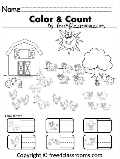 Kindergarten counting worksheet on farm free4classrooms kinder color count sheets