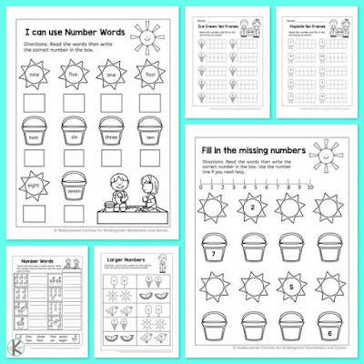 Kindergarten learning sheets counting worksheets preschool summer picture ideas free