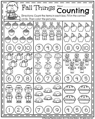 Kindergarten learning sheets fall math worksheets picture ideas